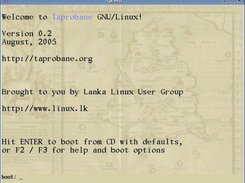 Taprobane GNU/Linux 0.2 boot screen (inside QEMU)