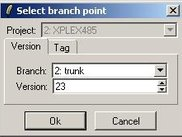 Create new branch: Select branch point