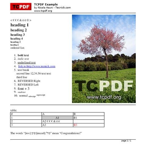 TCPDF - PHP class for PDF download | SourceForge net