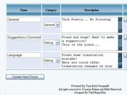 This is a snapshot showing the admin panel's forum menu
