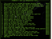 all the script's word list manipulation tools with green text