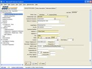 Production Application in IE - Shows Various Components