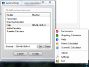 The main (suite) application and the settings window