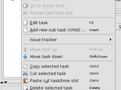 A popup menu asociated with task's tree