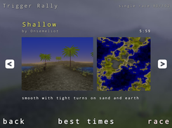 Trigger Rally: map selection menu