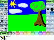 Drawing a picture in Tux Paint.