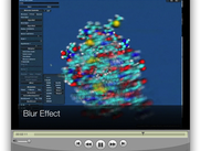 A screenshot from the UnityMol movie illustrating the blur effect.