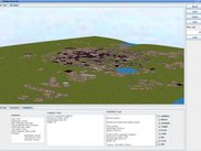 A 3D view of a generated city in shown in the GUI
