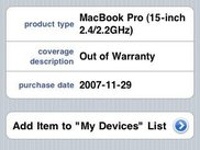 "The ""Device Lookup"" screen of uWarranty."