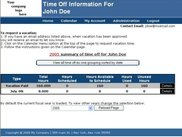 Employee home page gives a summary of time earned and used