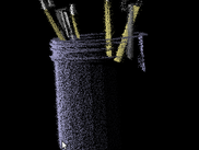 A jar of pencils, with the following options: trace point culling, lambertian shading, and simulated Kinect noise.