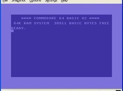 The start screen for the C64 on Windows XP