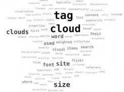 Cloud generated from the wikipedia article on Tag Clouds