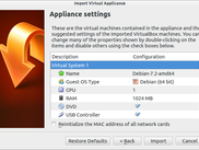 Appliance Settings before importing