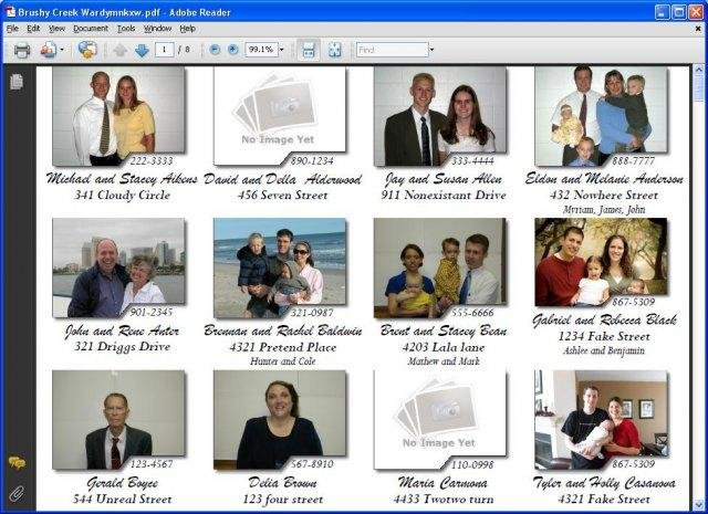 Ward directory download for Free church photo directory template
