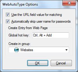WebAutoType Options