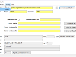 Security menu with Private-key and Certificates fields