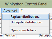 "WinPython Control Panel allows to ""register"" your distribution to Windows"