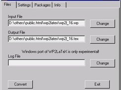 Windows GUI frontend for WP2LaTeX - file selection.