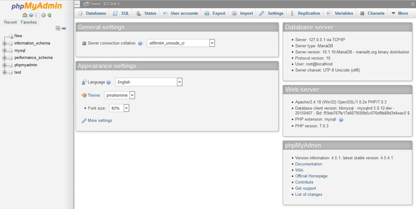 Xampp dashboard addon menu php my admin