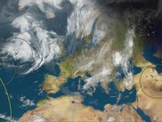 Europe magnified with Clouds and Earth Quakes