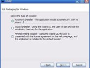 XRap Wizard Installer Selection Page on Windows
