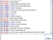 Simple chat conversation with tabs, in Spanish.
