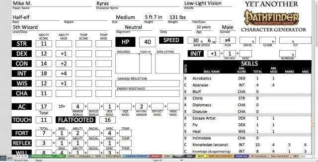 graphic regarding Pathfinder Printable Character Sheet named YAPCG obtain