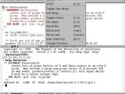Yorick Emacs IDE, showing menu in terminal window