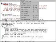 Yorick Emacs IDE, showing menu in source file window