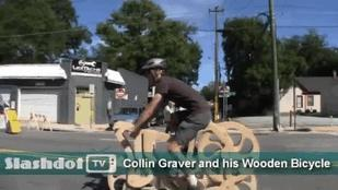 Collin Graver and his Wooden Bicycle (Video)
